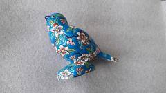 Oiseau Emaux d art de Longwy - Après restauration vue coté gauche